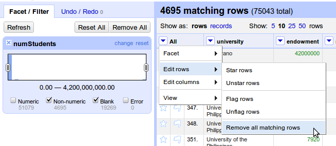 GoogleRefine_RemoveAllMatchingRows