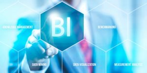 Business intelligence concept man pressing selecting BI