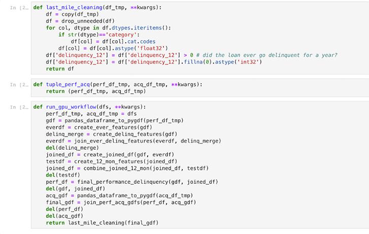 نمونهای از کدهای پردازش داده با RAPIDS