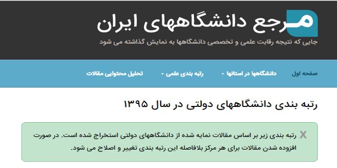 تصویر از سایت مرجع دانشگاه های ایران  – نمونه ای کاربردی از پردازش متن