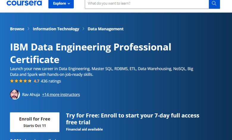 دوره مهندسی داده IBM